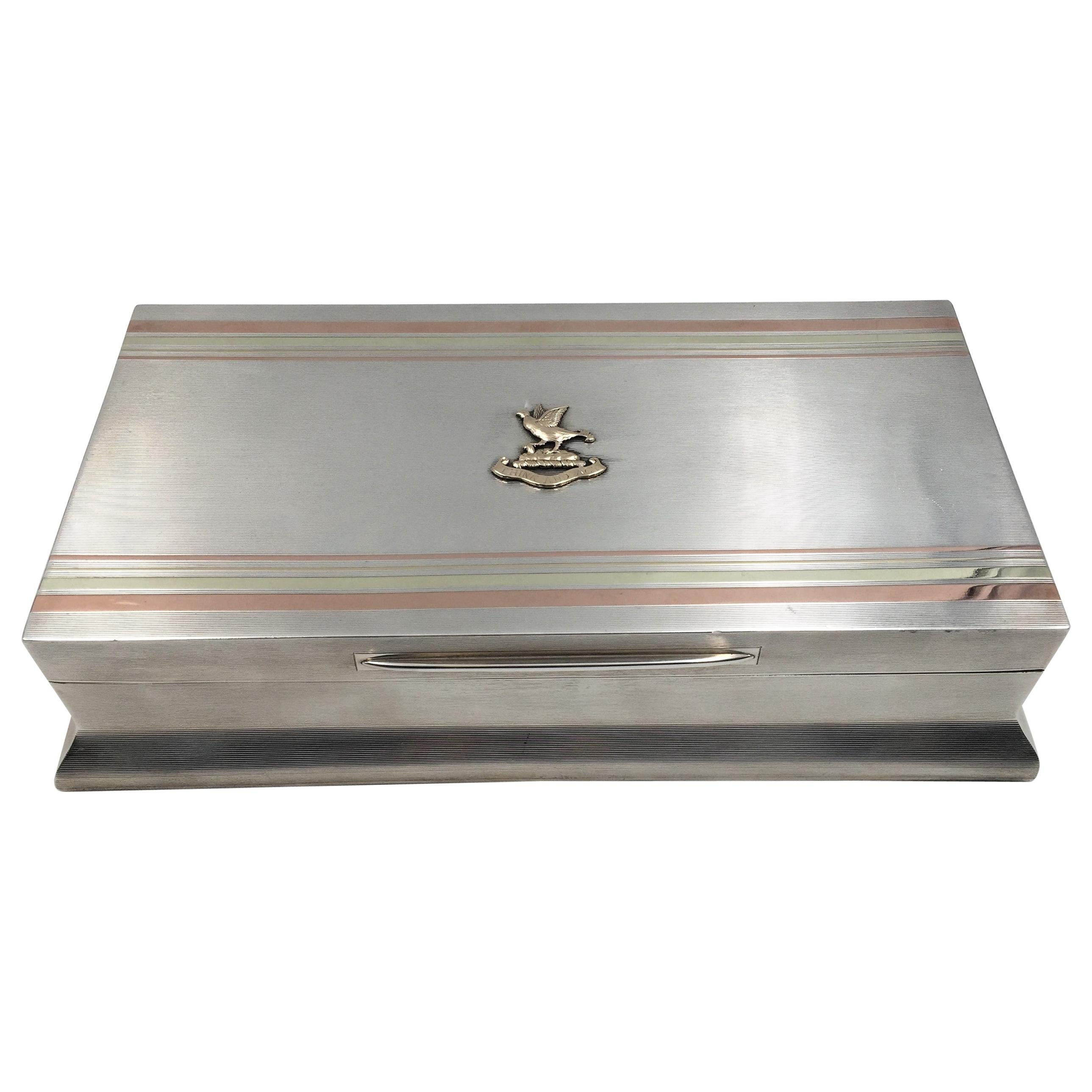 Sterling Silver Cigar Box by William F. Wright in Art Deco Style