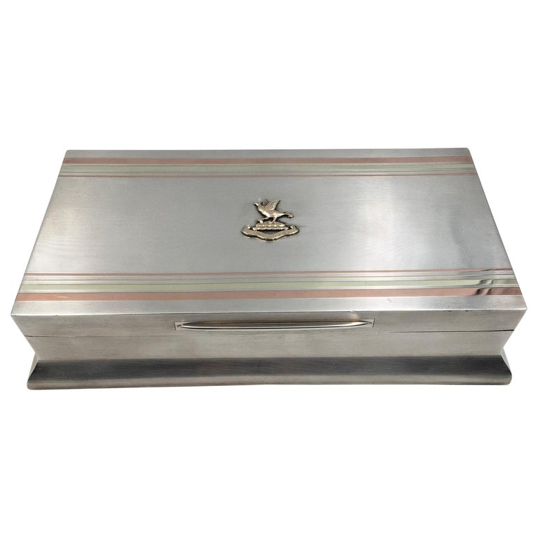 Sterling Silver Cigar Box by William F. Wright in Art Deco Style For Sale