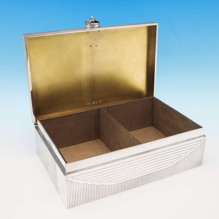 Mid-20th Century RAF Interest, Unique Art Deco Gold and Sterling Silver Cigar Box by Asprey, 1936 For Sale