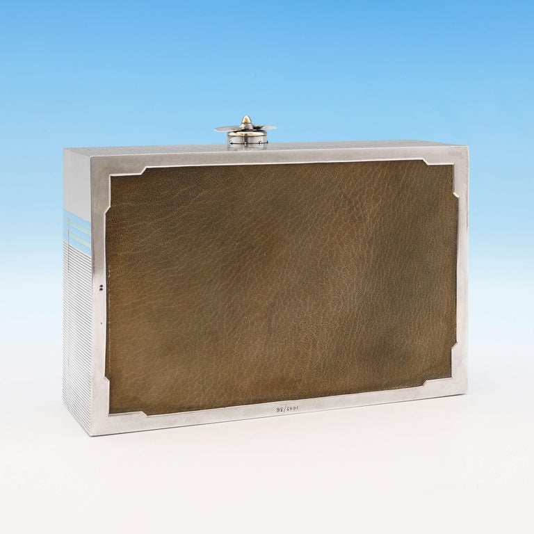 RAF Interest, Unique Art Deco Gold and Sterling Silver Cigar Box by Asprey, 1936 For Sale 2