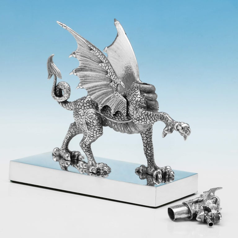English Novelty Sterling Silver Dragon Cigar Lighter Hallmarked in 1972 by Carringtons For Sale