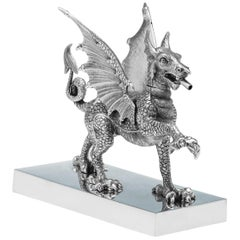 Novelty Sterling Silver Dragon Cigar Lighter Hallmarked in 1972 by Carringtons