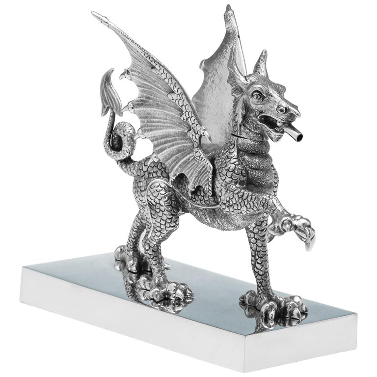 Novelty Sterling Silver Dragon Cigar Lighter Hallmarked in 1972 by Carringtons For Sale