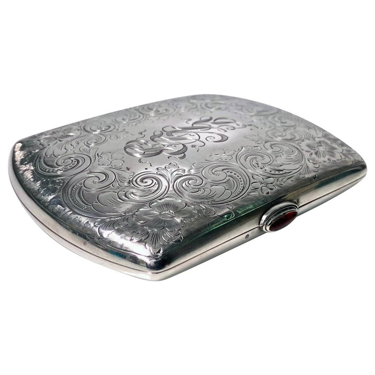 Sterling Silver Cigarette or Card Case, American, circa 1920 For Sale