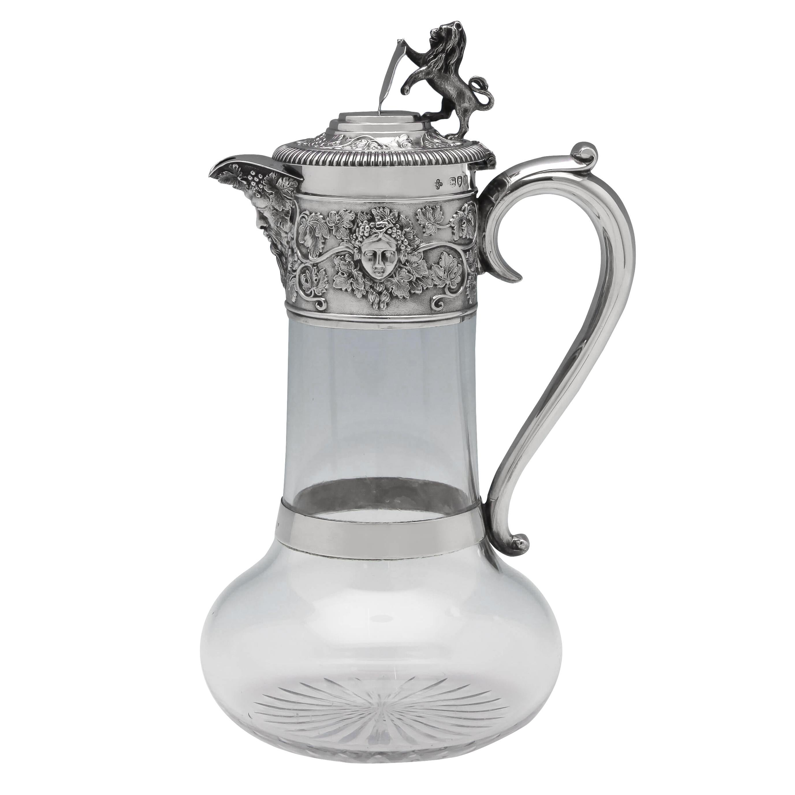 Grape & Vine Decorated Victorian Antique Sterling Silver Claret Jug from 1895