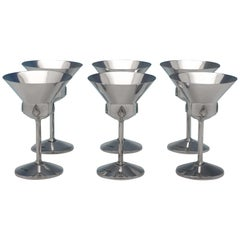Art Deco Design Sterling Silver Set of 6 Cocktail Glasses from 1955