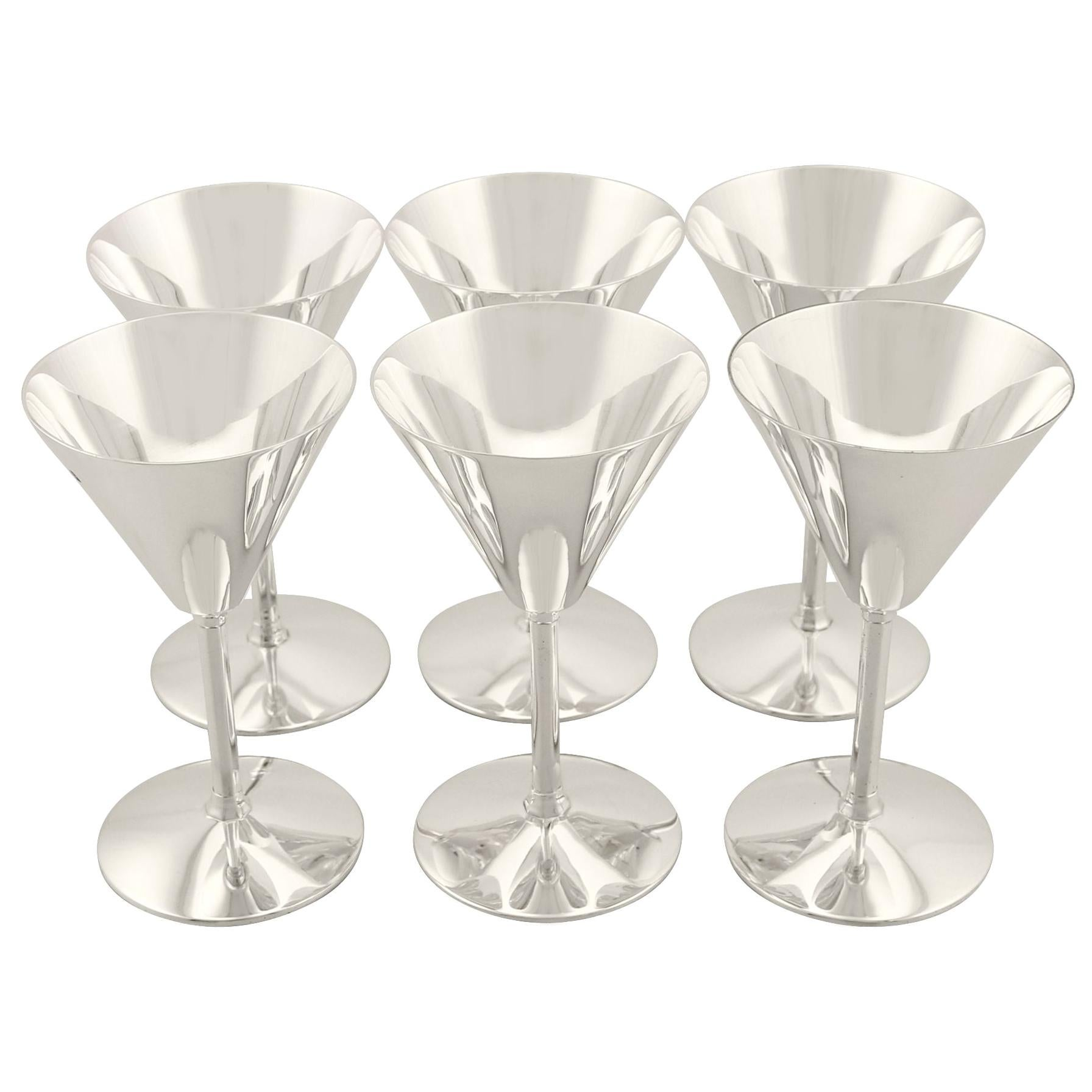 Sterling Silver Cocktail Glasses Set of Six Art Deco Style