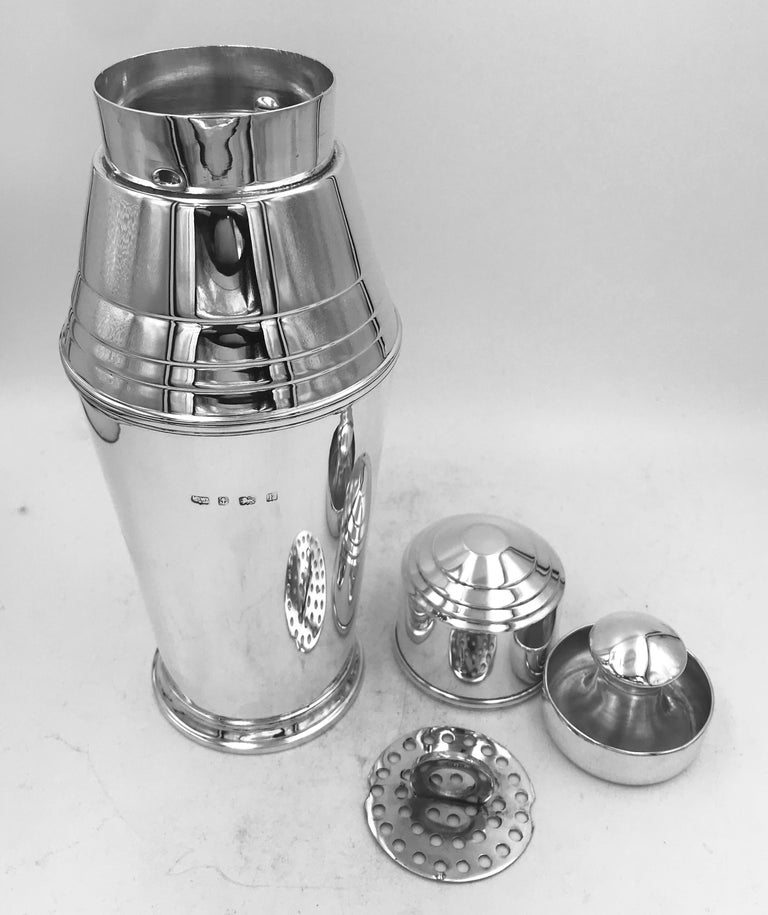 Sterling Silver Cocktail Shaker In Good Condition For Sale In London, GB