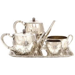 Sterling Silver Coffee and Tea Set by N. G. Henriksen for A. Michelsen, CPH