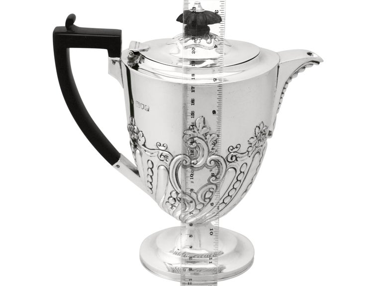 Sterling Silver Coffee Jug by Charles Stuart Harris, Antique, Victorian For Sale 6