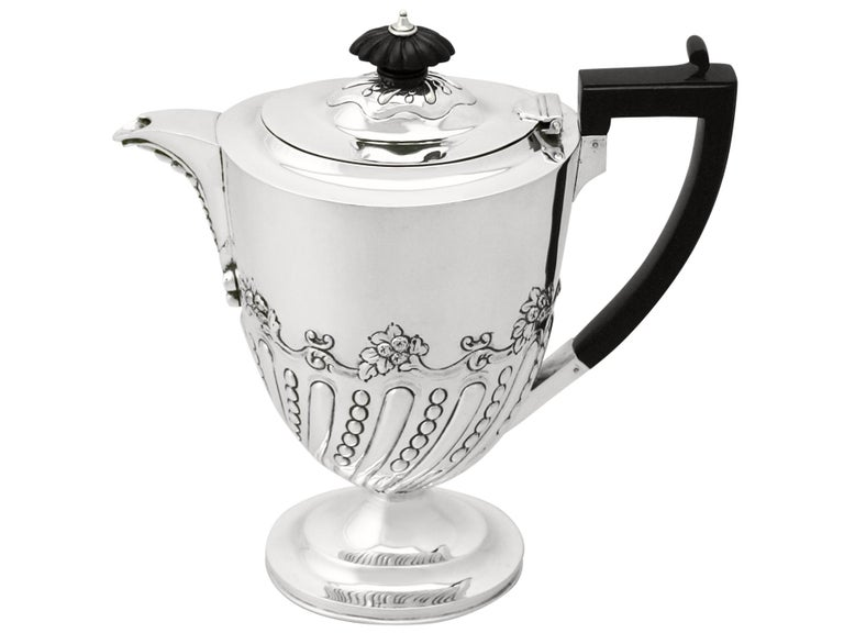 Embossed Sterling Silver Coffee Jug by Charles Stuart Harris, Antique, Victorian For Sale