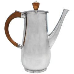 Mid Century Modern Hand Hammered Sterling Silver Coffee Pot from London in 1967