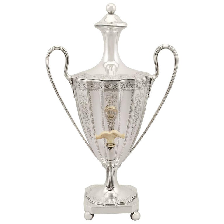 Sterling Silver Coffee Urn Antique George III, 1786 For Sale