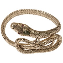 Sterling Silver Coiled Snake Bracelet with Peridot