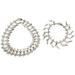 Sterling Silver Collar Necklace and Charm Bracelet Set Vintage Signed