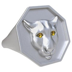 Sterling Silver Colorado Cougar Signet Ring and Yellow Sapphire Eyes