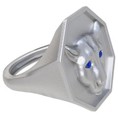 Sterling Silver Colorado Cougar Signet Ring with Blue Sapphire Eyes