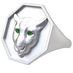 Sterling Silver Colorado Cougar Signet Ring with Tsavorite Eyes