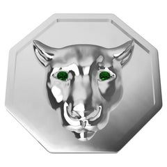 Sterling Silver Colorado Cougar Signet Ring with Tsavorite Eyes Rhodium Plate