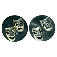 Sterling Silver Comedy Tragedy Theater Cufflinks