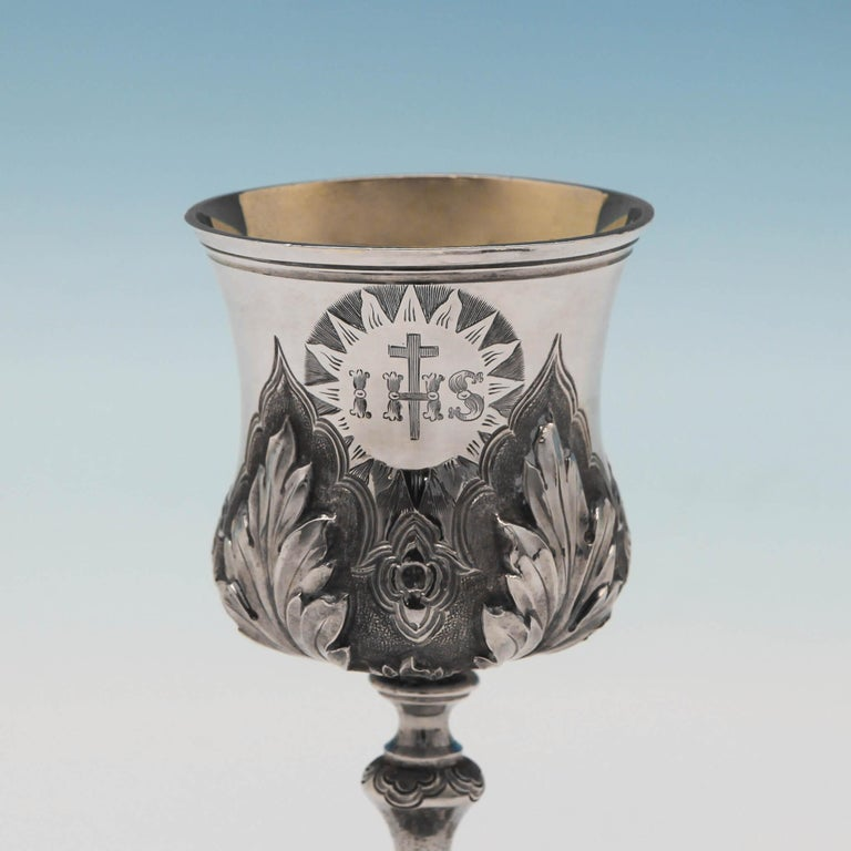 Baroque Sterling Silver Communion Set For Sale