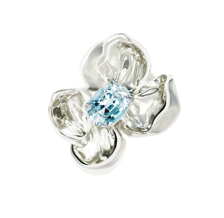 Sterling Silver Contemporary Ring with Paraiba Tourmaline For Sale 5