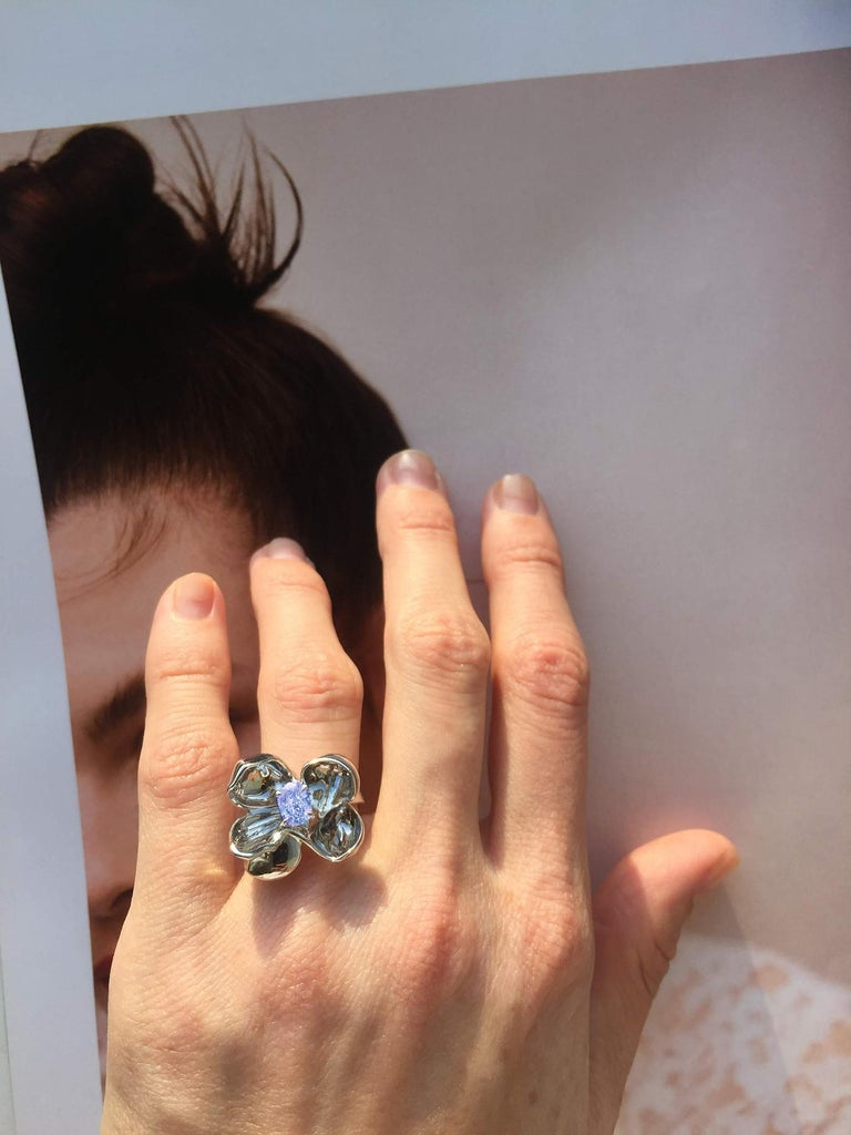 Women's or Men's Sterling Silver Contemporary Ring with Paraiba Tourmaline For Sale