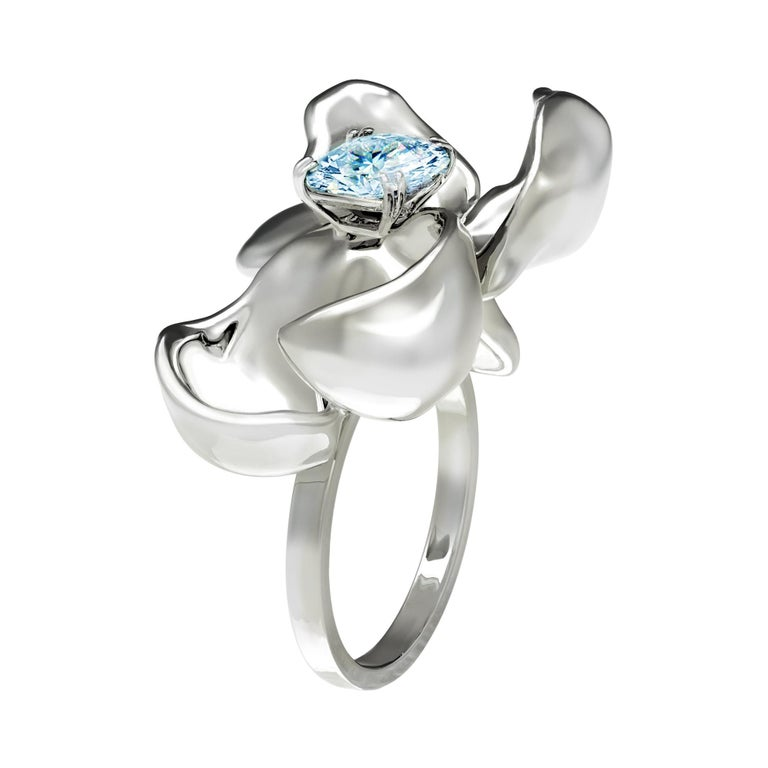 Sterling Silver Contemporary Ring with Paraiba Tourmaline For Sale