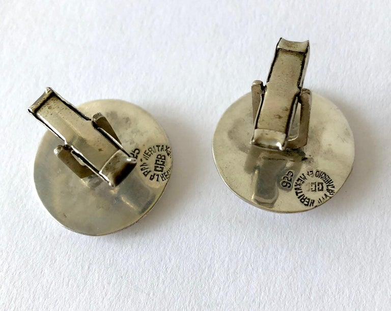 Sterling Silver Copper Mexican Modernist Cheeky Face with Tongue Out Cufflinks In Good Condition For Sale In Los Angeles, CA