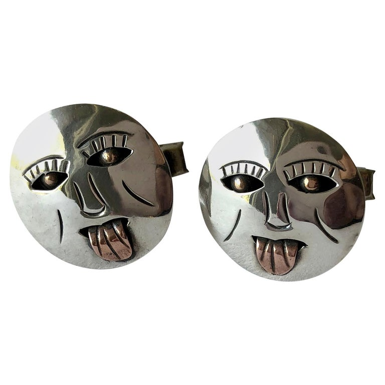 Sterling Silver Copper Mexican Modernist Cheeky Face with Tongue Out Cufflinks For Sale