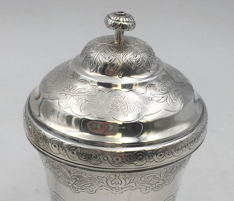 Sterling Silver Covered Kiddush Cup / Beaker by Tane Prestigious Mexican Maker In Good Condition For Sale In New York, NY