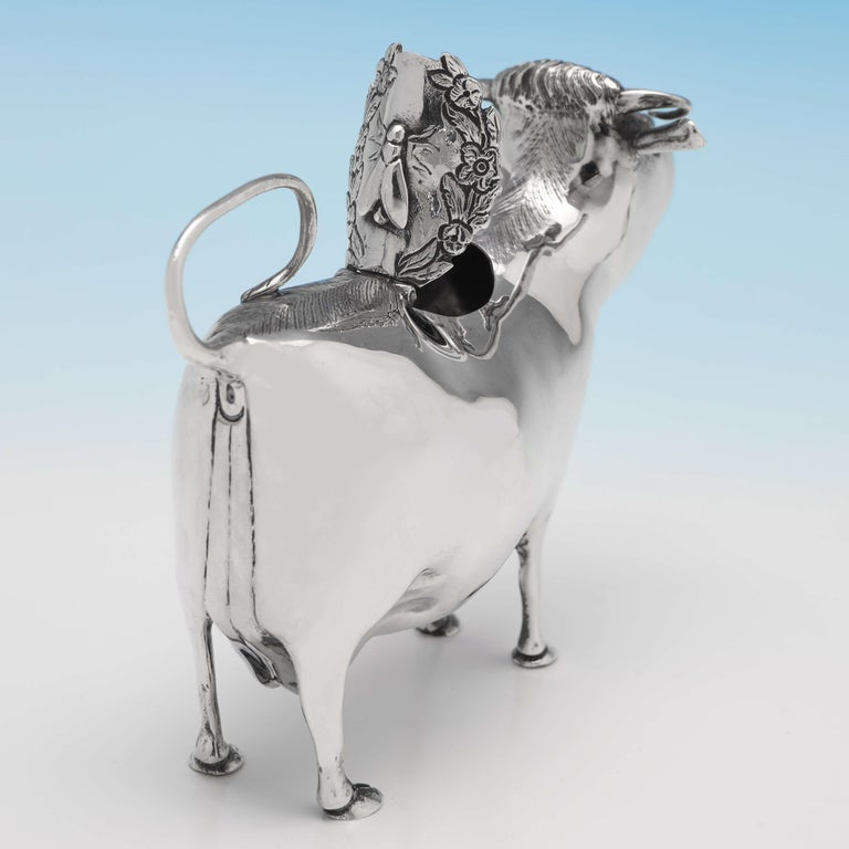 English Sterling Silver Cow Creamer, London 1968, William Comyns For Sale