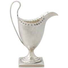 Sterling Silver Cream Jug / Creamer by Peter and Ann Bateman, Antique George III