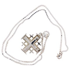 Sterling Silver Cross Pendant with Silver Box Chain, Crucifix Necklace