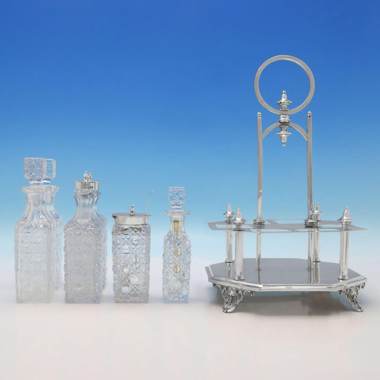 English Victorian Antique Sterling Silver Cruet Set by Charles Boyton II London, 1896 For Sale