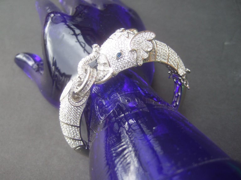 Sterling Silver Crystal Encrusted Hinged Elephant Bangle c 21st  For Sale 5