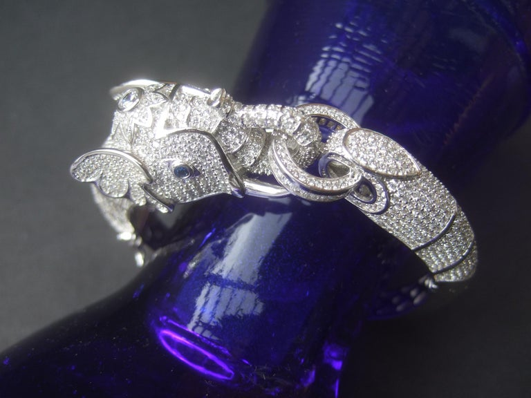Sterling Silver Crystal Encrusted Hinged Elephant Bangle c 21st  For Sale 6