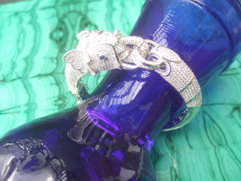 Sterling Silver Crystal Encrusted Hinged Elephant Bangle c 21st  For Sale 7