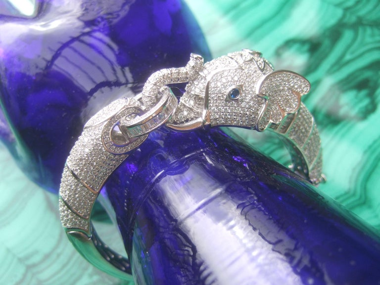 Sterling Silver Crystal Encrusted Hinged Elephant Bangle c 21st  For Sale 8