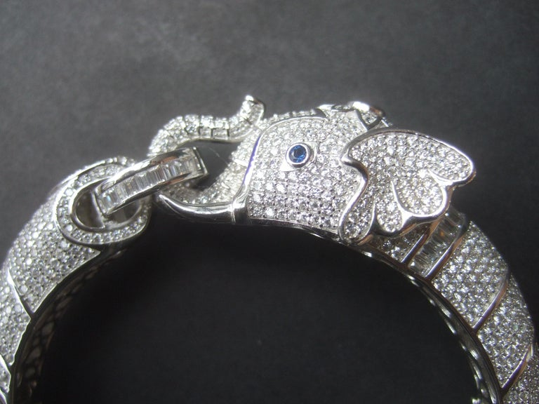 Sterling Silver Crystal Encrusted Hinged Elephant Bangle c 21st  For Sale 9