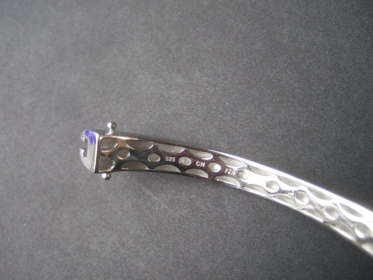 Sterling Silver Crystal Encrusted Hinged Elephant Bangle c 21st  For Sale 12