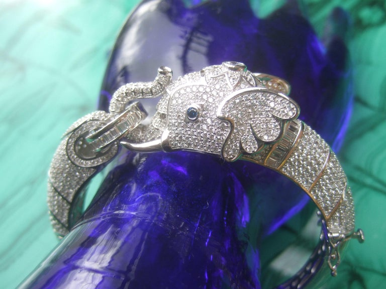 Modern Sterling Silver Crystal Encrusted Hinged Elephant Bangle c 21st  For Sale