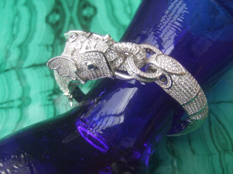 Sterling Silver Crystal Encrusted Hinged Elephant Bangle c 21st  In Excellent Condition For Sale In Santa Barbara, CA