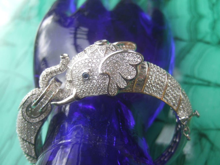Women's Sterling Silver Crystal Encrusted Hinged Elephant Bangle c 21st  For Sale