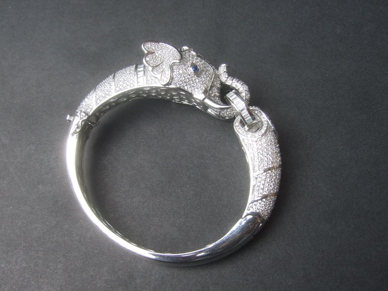 Sterling Silver Crystal Encrusted Hinged Elephant Bangle c 21st  For Sale 2