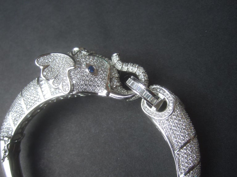 Sterling Silver Crystal Encrusted Hinged Elephant Bangle c 21st  For Sale 3