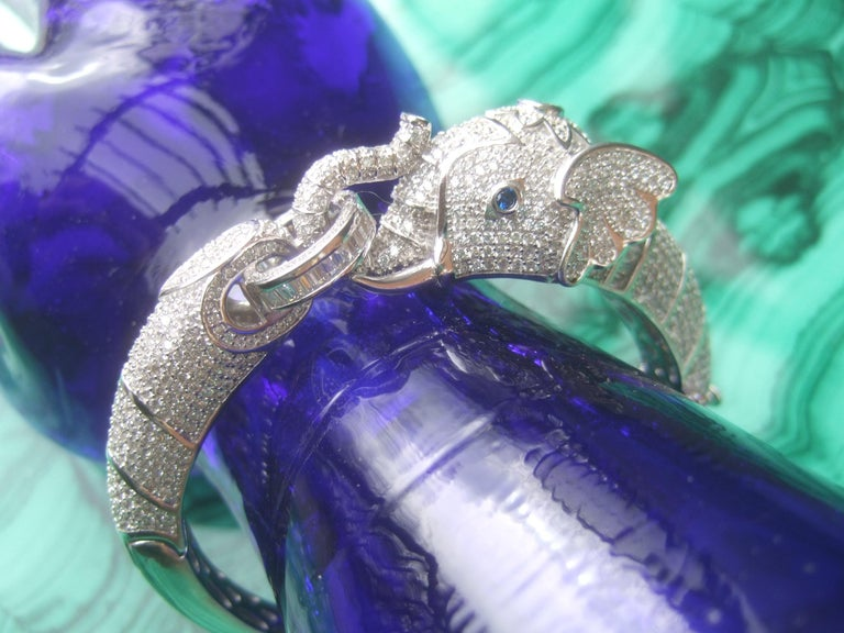 Sterling Silver Crystal Encrusted Hinged Elephant Bangle c 21st  For Sale 4