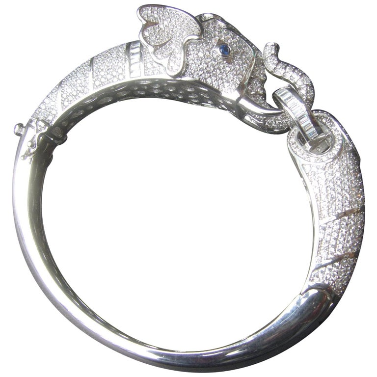 Sterling Silver Crystal Encrusted Hinged Elephant Bangle c 21st  For Sale