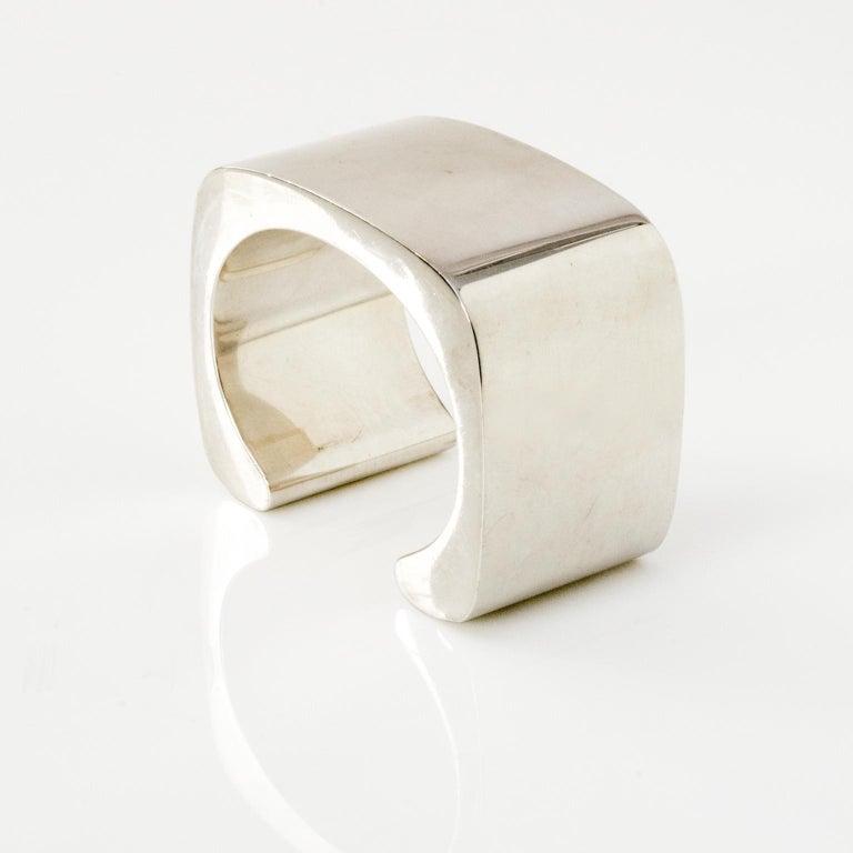 A sculptural Sterling silver cuff bracelet designed by Pekka Piekainen 1976, made by Auran Kultaseppä, Finland Depth: 1.5