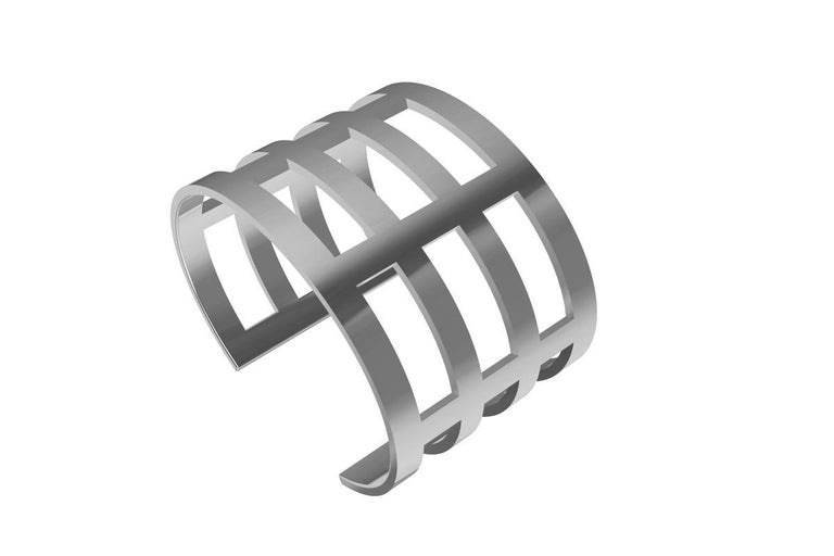 Contemporary Sterling Silver Cuff Bracelet For Sale